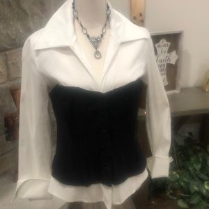 Long sleeve shirt with black corset